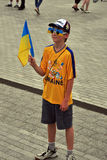 A fan of the Ukrainian national team poses Royalty Free Stock Photography
