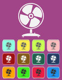 Fan Vector icon with color variations, vector.  Royalty Free Stock Images