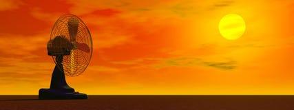 Fan vid solnedgång - 3D framför Arkivbild