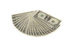 Fan von Dollar-Anmerkungen Stockbild