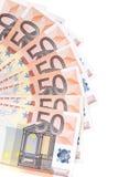 Fan von 50 Euroanmerkungen. Lizenzfreie Stockfotos