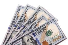Fan von $100 Rechnungen lokalisiert Lizenzfreies Stockbild