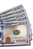 Fan von $100 Rechnungen lokalisiert Stockfoto