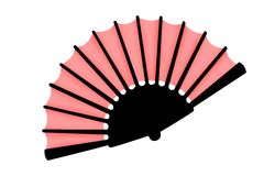 Fan on a white background. Opened pink fan on a white background stock illustration