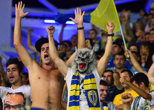 Fan with wolf mask in Petrolul Ploiesti-Swansea FC Stock Photos