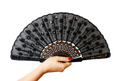 Fan in a woman hand Stock Photo