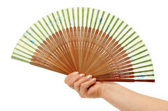 Fan in a woman hand Stock Photos