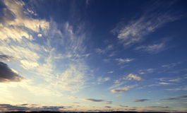 Fancy sunset sky. Dreamy windy evening sky.Clouds and wind Royalty Free Stock Photos