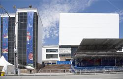 The fan zone of the FIFA World Cup 2018 at the Theater Square. Stock Photo