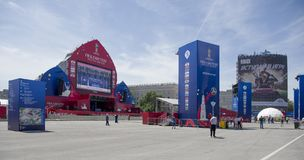 The fan zone of the FIFA World Cup 2018 at the Theater Square. Royalty Free Stock Photography
