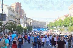 Fan-Zone ist der Schluss der UEFA-Meister-Liga Stadt von Kiew ukraine lizenzfreies stockfoto
