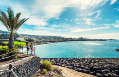 Fanabe beach in Costa Adeje. Tenerife. Tenerife, Canary Islands- December 20, 2014: Picturesque view to the Fanabe beach in Costa Adeje. Tenerife. Canary stock photo
