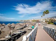 Fanabe strand i Costa Adeje kanariefågelöar tenerife Royaltyfri Bild