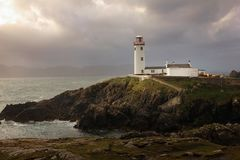 Fanad head lighthouse. county Donegal. Ireland. Fanad head lighthouse in stormy weather. county Donegal. Ireland Royalty Free Stock Photo