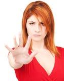 Fanale di arresto di rappresentazione della donna Fotografie Stock Libere da Diritti
