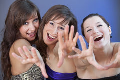 Fanatic girls at disco. Party girls stretch their hands in the camera Royalty Free Stock Photo