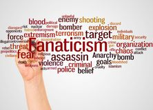 Fanaticism word cloud and hand with marker concept. On white background stock photo