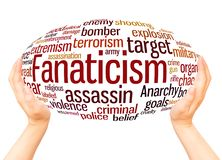 Fanaticism word cloud hand sphere concept. On white background royalty free stock photos