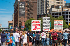 Fanatics rally. CLEVELAND, OH - JULY 20, 2016: A hard-core extremist religious group draws a crowd of the curious onlookers on Prospect Avenue during the Royalty Free Stock Photography