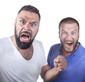 Fanatics. Two fanatic guys are cheering Royalty Free Stock Images