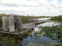Fanboat docked - Florida Everglades. Airboating, a popular ecotourism attraction in the Florida Everglades. this boat is docked ready to go stock photo