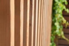 Fance en bois sur un jardin Image stock