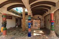 The fanciest public toilets in NZ, the Hundertwasser toilet in Kawakawa royalty free stock image