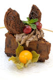 Fanciful chocolate cake Stock Images