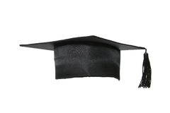 Fanciful head-dress. Hat of the graduate on white background Stock Photo