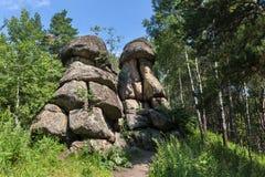 Fanciful rocks on Mount Tserkovka resort Belokurikha in Altai Krai. Fanciful rocks on Mount Tserkovka resort Belokurikha in the Altai Krai Stock Photography