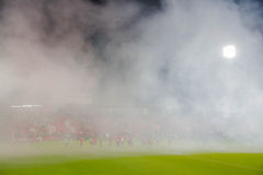 Fanclub of Muangthong United celebeates after Muangthong United win Royalty Free Stock Image