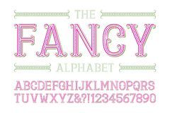 Fancy alphabet with numbers in fashionable festive style.  royalty free illustration