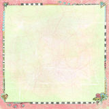 Fancy Art Doodles Bordered Worn Folded Grunge Paper Background Stock Photography