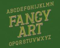 Fancy Art typeface. Retro font. Isolated english alphabet.  stock illustration