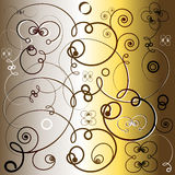 Fancy artistic background. An abstract and artistic background with curly and spiral designs and golden and brown colors royalty free illustration