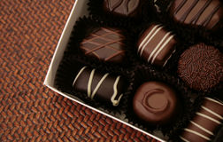 Fancy assorted chocolates stock photos