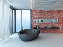 Fancy bathroom interior with red wall and black bathtub Royalty Free Stock Photography