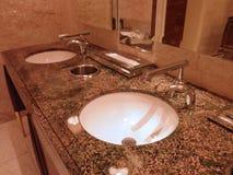 Fancy Bathroom Sinks. Portrait of stylistic bathroom Sinks in a fancy Las Vegas casino floor bathroom stock images