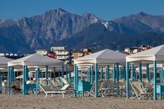 The Resort Town of Viareggio. The fancy beach huts in the coastal resort city of Viareggio, Italy royalty free stock image