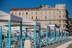 The Resort Town of Viareggio. The fancy beach huts in the coastal resort city of Viareggio, Italy royalty free stock images