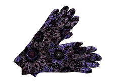 Fancy beaded evening gloves Stock Photo