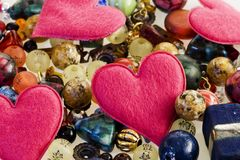 Fancy beads and hearts Stock Photo