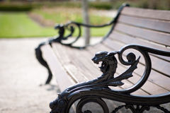 Fancy bench. Photo of a fancy bench with a dragon royalty free stock photography