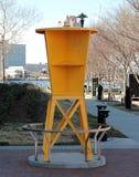 Yellow Modern Bicycle Rack. Town Point Park Norfolk, Virginia stock photos
