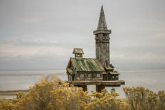 Fancy Birdhouse at Antelope Island State Park stock image