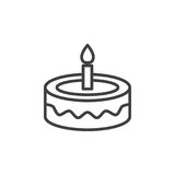 Fancy birthday cake line icon, outline vector sign, linear style pictogram isolated on white. Symbol, logo illustration. Editable stroke. Pixel perfect Royalty Free Stock Images