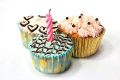 Fancy birthday cupcake. Set of three Royalty Free Stock Photo