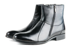 Fancy black leather men boots Stock Photo
