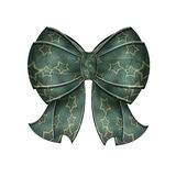 Fancy Blue Green Bow With Stars. A beautiful teal star bow with ribbons isolated over white background Royalty Free Stock Photo
