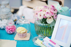 Fancy blue and pink table set. For some festive event Royalty Free Stock Photos